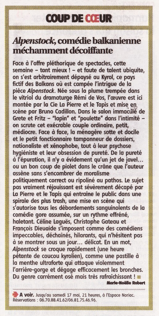 Article Alpenstock - Le Populaire du centre 16-05-2014