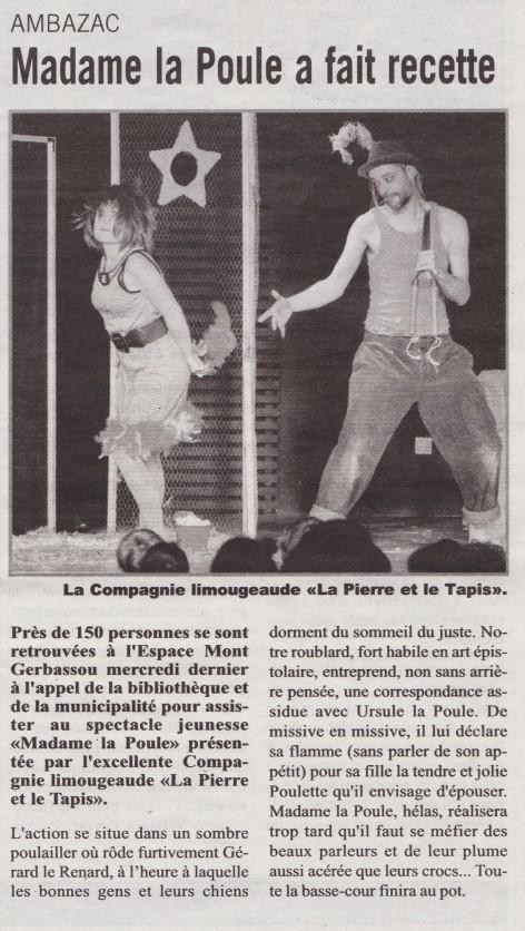 Article Madame la poule - L'Echo de la Haute-Vienne - 15-12-2014