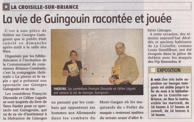 Article Le Populaire - Guingouin un chef du maquis - La Croisille-sur-Briance - 20-10-2019