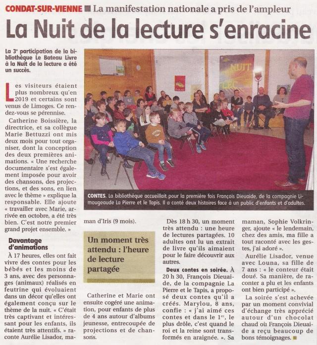 Article Le Populaire - La Fontaine à quatre pattes - contes - Condat-sur-Vienne - 18-01-2020